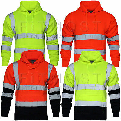 Hi Viz Vis High Visibility Jacket Pullover Hoodie Work Hooded Fleece Sweatshirt