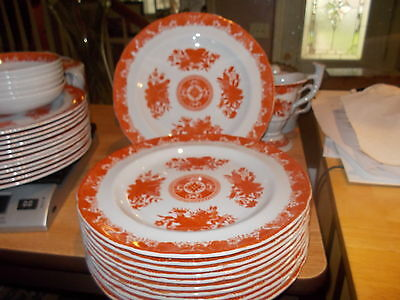 """12 SPODE New Stone RED 8 1/2"""" Luncheon Plates"""