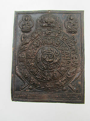Antique Oriental Copper Panel Thanka Buddhist Chinese Eastern