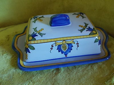 Hand Painted Ceramic Butter Dish Made in Portugal Artist Signed