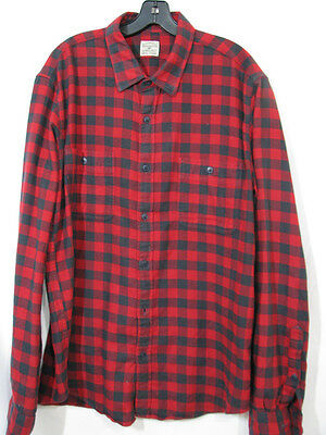f4a2e9442738 J. CREW Large Buffalo Check SLIM FIT FLANNEL SHIRT Button-Up RED PLAID sz