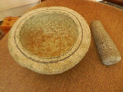 Stone Mortar and Pestle  Lava Rock Large 7""