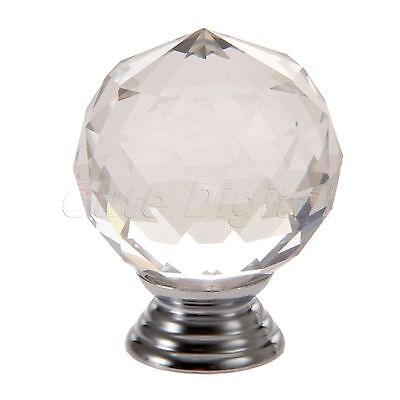 Crystal Glass 40mm Knobs Round Handle Dresser Drawer Cabinet Closet Clear Pull