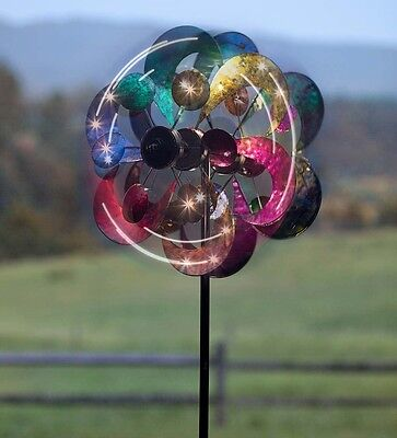 Metal Flower Post Wind Spinner Garden Stake Windmill Colorful Spinning Ornament