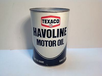 Vintage Havoline Texaco Motor Oil Quart Can NOS FULL original Sign Gas Auto rare