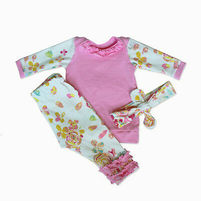 Infant Baby Girls Cotton T-Shirt Tops +Long Pants Headband Outfits Set Clothes
