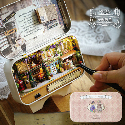 3D DIY Doll House Miniature Furniture Box Theatre Dollhouse Kit Retro Tin Box