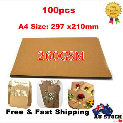100x 260GSM Natural Recycled Invitation Wedding Card A4 Brown Kraft Paper Sheets