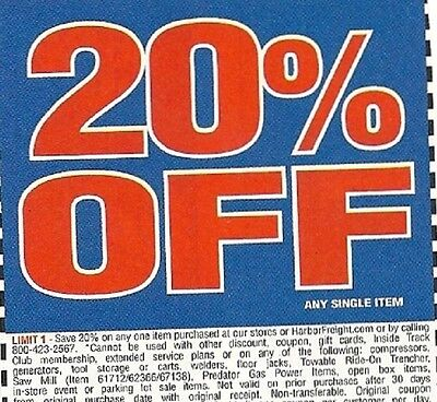 Harbor Freight Tools 20% Off Single Item Coupons x(10)