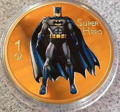 Batman Collectable Challenge Coin Finished In 24k Gold  .999 Weight 1oz Plated