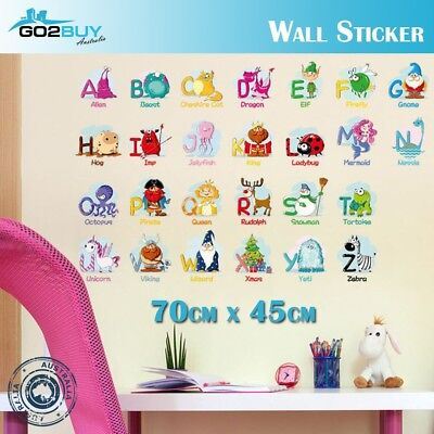 Animal A-Z Colorful letters Alphabet Kids Wall Stickers Removable Art DIY Decal