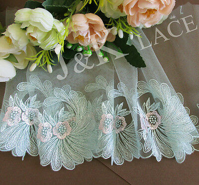 16 cm width Pretty Mint Embroidery Mesh Lace Trim