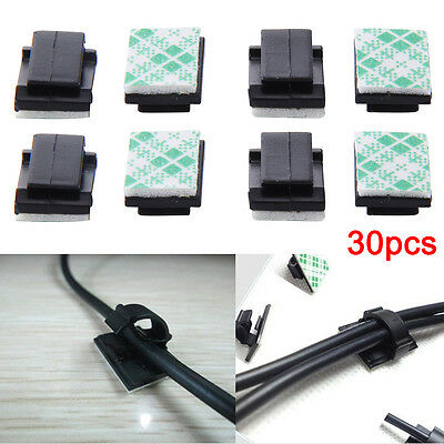 30pc Wire Clip Mount Clamp Self-adhesive Black Car Tie Rectangle Cable Holder