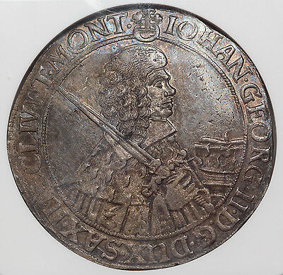 Germany Saxony 1659 CR Thaler/Taler Silver Coin NGC MS62 Finest Dav-7617 KM-745