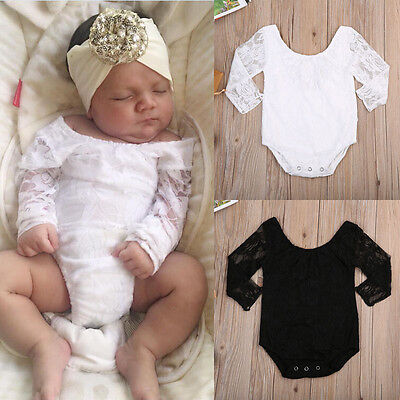 US Newborn Infant Toddler Baby Girl Romper Lace Bodysuit Kids Clothes Outfit
