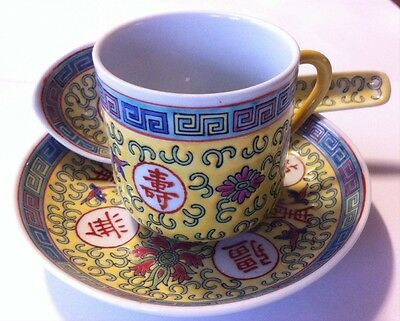 New Yellow Long Life Set - Cup, Saucer And Spoon Hand Painted Rare Find