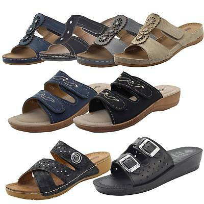 Women Slip on Mules Slider Cushioned Ladies Low Wedge Heel Comfort Sandals Shoes