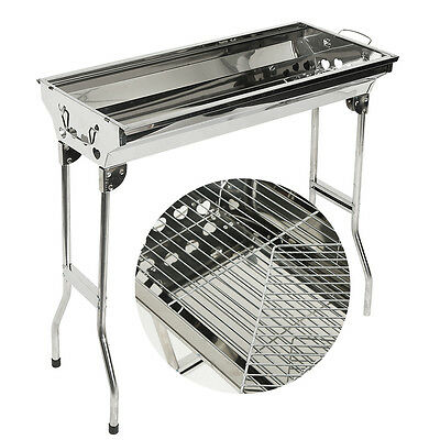 Portable Charcoal Barbecue Stainless Steel Grill Foldable BBQ Table Coal Camping