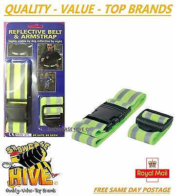 Hi Vis Fluorescent Reflective Belt & Arm Strap - One Size Fits Adults & Kids
