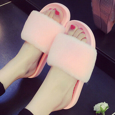 Womens Rubber Shoes Indoor and outdoor Fluffy Fur Slipper Sandals Non-slip Cozy