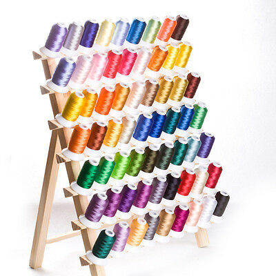 Spool Holder Thread Rack 120 Sewing Embroidery Organizer Storage Natural Wooden