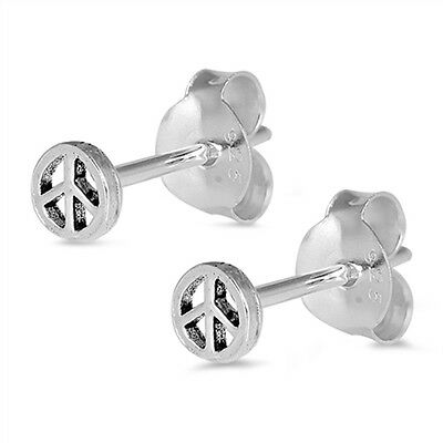 5mm Round Small Tiny Peace Stud Post Earrings Sterling Silver Choose Color