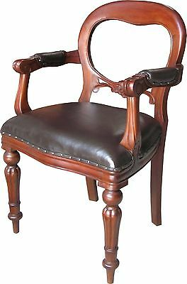 Solid Mahogany Dutch Office Chair with Brown Leather Balloon Back CHR012