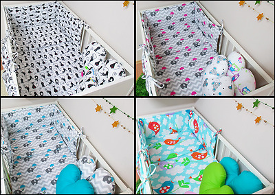 4 pcs Nursery Bedding Sets/Bumper, Duvet cover, pillow and ORGANiSER,100% cotton