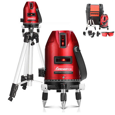 360° Rotary Laser Level Self-Levelling 5 Line 6 Point Measuring Kit Tripod Stand