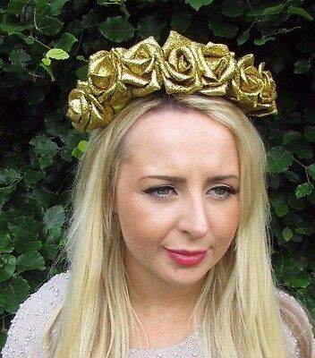 Gold Glitter Rose Flower Garland Headband Festival Hair Crown Headpiece 3267