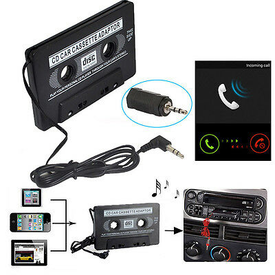 CAR AUDIO TAPE CASSETTE ADAPTER WIRED FR IPHONE IPOD MP3 CD RADIO 3.5mm JACK AUX