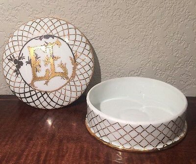 """Vintage France Limoges Procelain """"E.L."""" Trinket Box Container, Gold and White s1"""