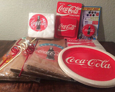 Vintage Coca Cola Collectible Party Pack Lot, Napkins Plates Straws Coke Logo s2