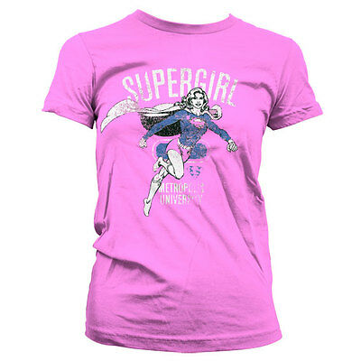 Officially Licensed Supergirl Metropolis Distressed Women's T-Shirt S-XXL Sizes