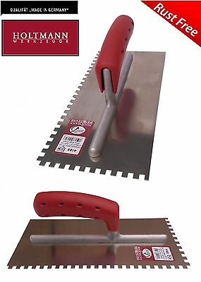 HOLTMANN Stainless Steel 4 - 20mm RUST FREE Square Notched Adhesive Tile Trowel