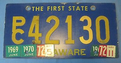 1969 1970 1971 1972Delaware license plate with riveted numbers