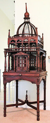 ANTIQUE BIRD CAGE Victorian House Style Hand Carved Mahogany Old Vintage 7' Tall