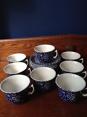 Royal Crownford Blue Calico Set/8 Cups And Saucers England