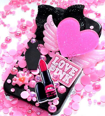 "Limited Edition Secret ""LOVE PINK"" Decoden Craft Phone Cover Kit VS Angel Wings"