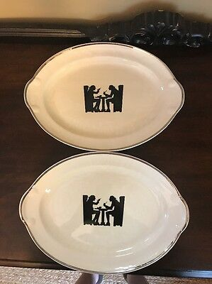 2 Taylor Smith Taylor Silhouette Tavern Oval Platters 11 1/2 X 8