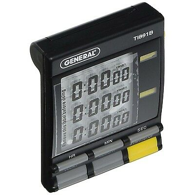General Tools TI891B Three Channel Timer-Stopwatch with Clock