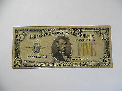 1934-A $5 North Africa Silver Certificate - Very Good, VG
