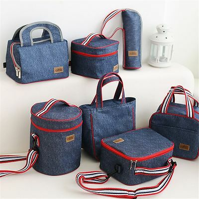 Portable Cooler Food Box Heat Insulated Denim Thermal Bag Lunch Storage