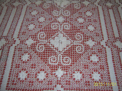 "Antique Italian Filet Lace Tablecloth Handmade Ecru 60"" x 66"" Darned Netting"