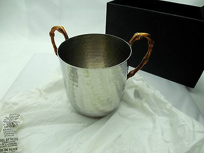 """Majestic Giftware WCHG Hammered Stainless steel Wash Cup with Gold Handles, 5"""""""