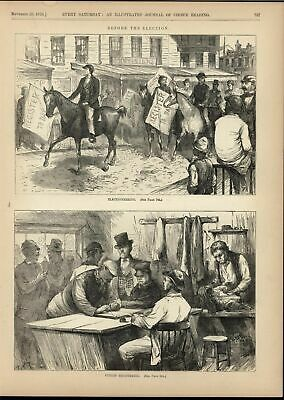 Election Season Campaigning Registering Voters 1870 antique engraved print