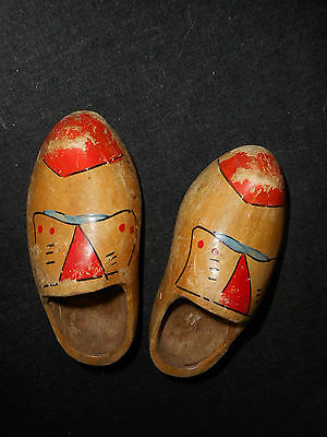 """vintage hand carved dutch shoes clogs wooden childs 7 1/2"""" long"""