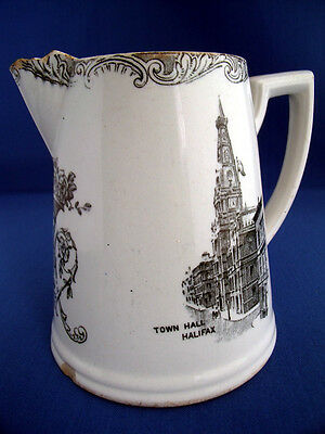 Antique Halifax Whiskey Or Water Jug Feat. Town Hall & Wainhouse Tower Yorkshire