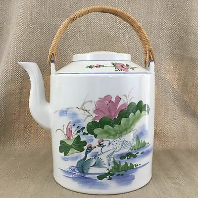 Vintage Chinese Teapot Water Carrier Large Oversize Hand Painted Ceramic