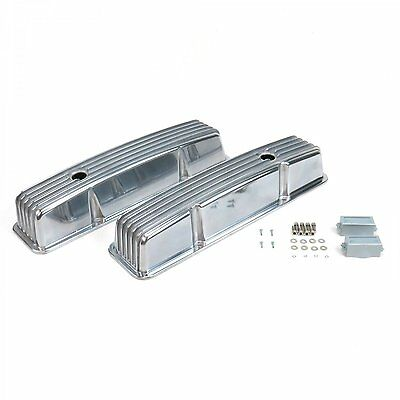 SBC SMALL BLOCK CHEVY FINNED TALL POLISHED ALUMINUM VALVE COVERS & holes 283